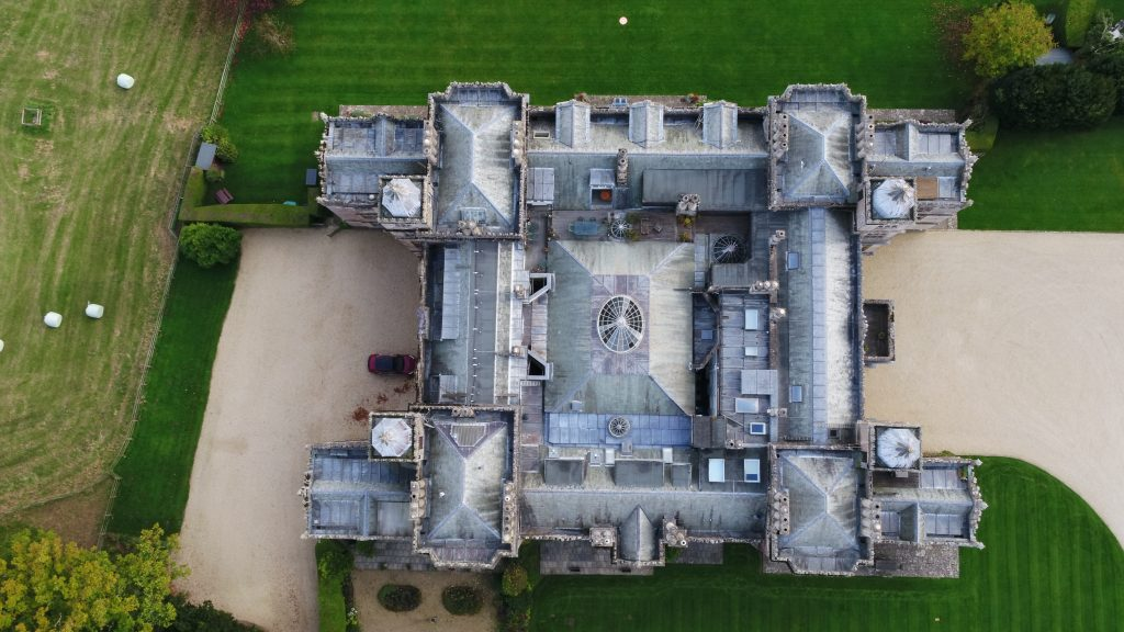 old building inspection from above with drone