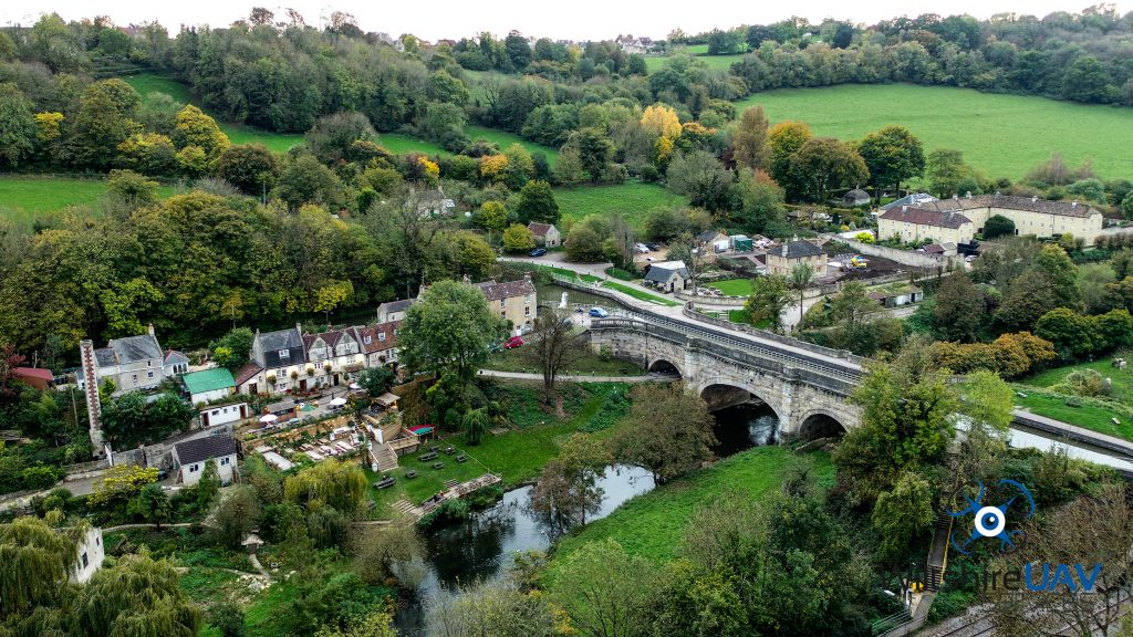 drone eye view of river and bridge