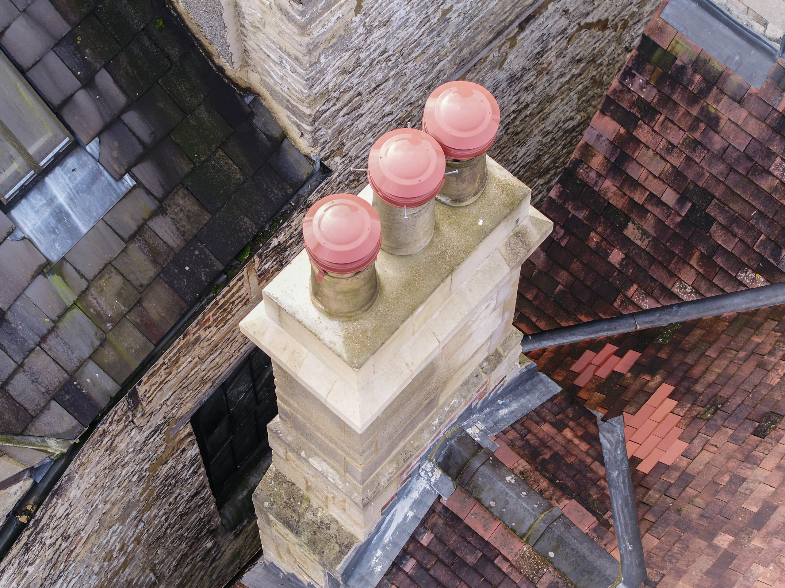 chimney and roof inspection with drone